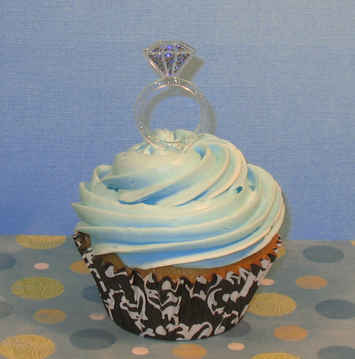 Diamond Ring Cupcake Pick 12 by sweettreatssupplies on Etsy