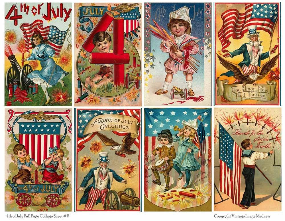 4th of july vintage postcards 6 instant by vintageimagemadness. Black Bedroom Furniture Sets. Home Design Ideas