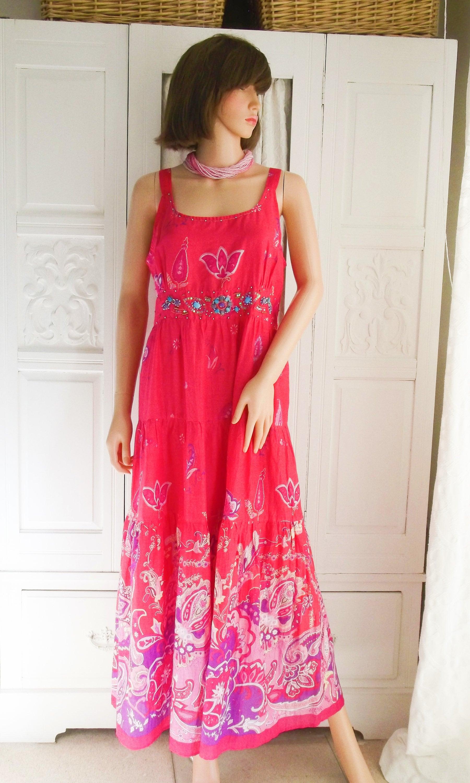 Unworn Bright pink Floral Indian cotton maxi Boho dress Hippie dress Festival dress Beaded Indian dress Tiered Indian maxi dress Size L