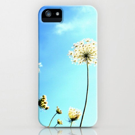 iPhone5 Case OR iPhone4/4S - Photography Cell Phone Cover  - Queen Anns Lace - Nature - Aqua Blue - Botanical  - PhotoLadz