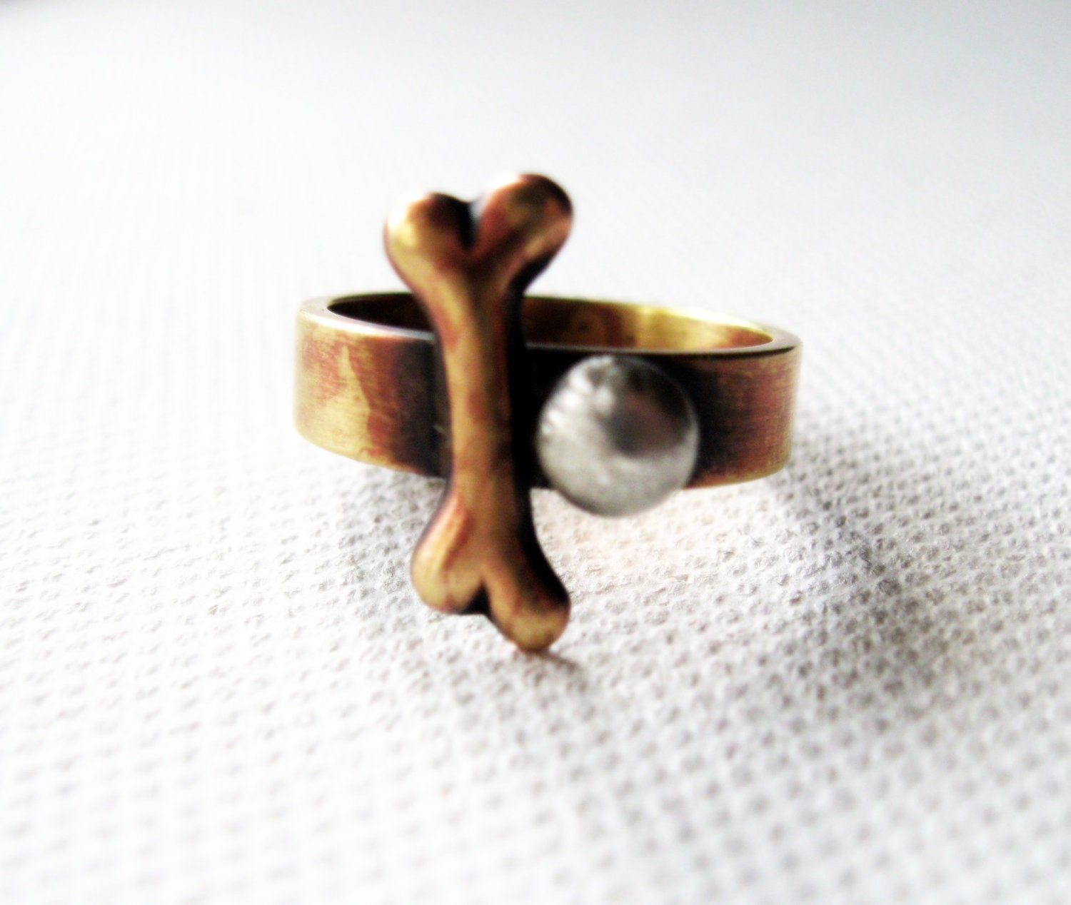 Dog Bone Ring Rustic Silver Brass Pet Lover Metalsmith Novelty Geekery Jewelry - Senobar