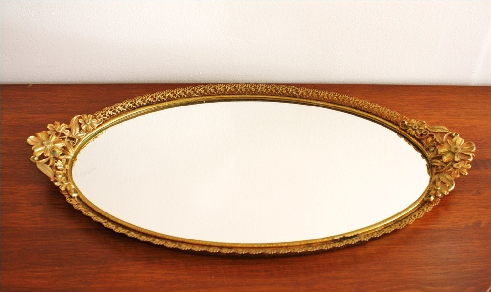 Antique Mirror Vanity Tray With Gold Frame By Highstreetmarket