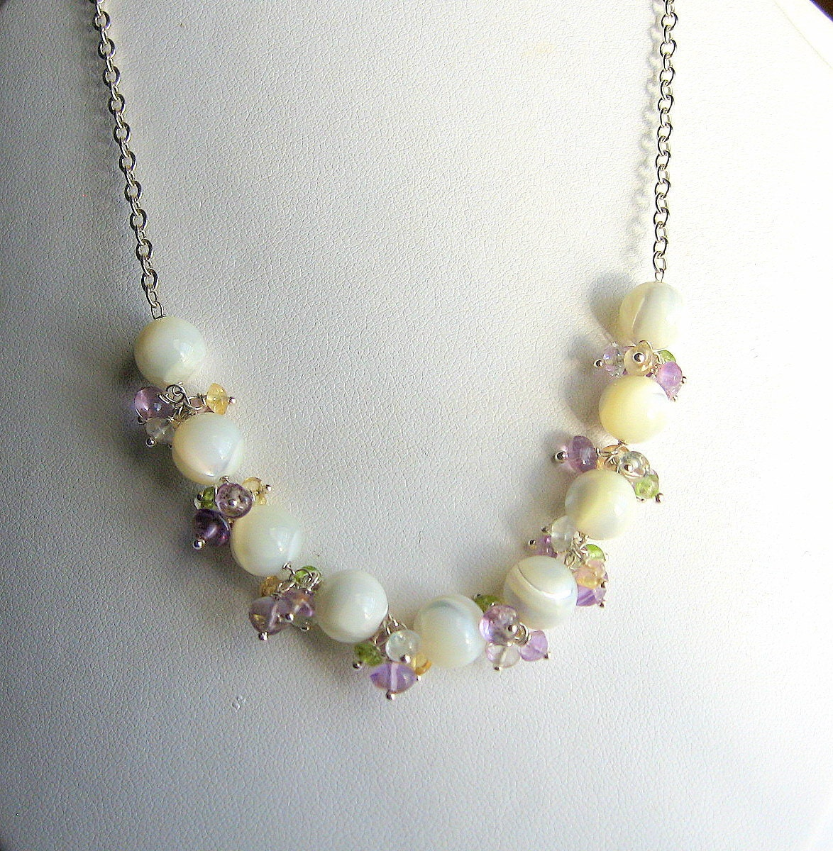 Mother of Pearl Necklace, Gemstone Sterling Silver Bridal Jewelry