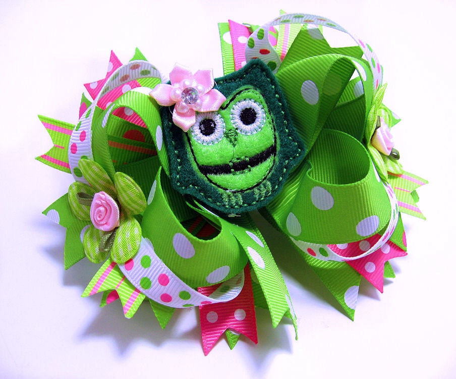 Clearance SALE Owl Hair Bow Hairbow Big by LilPinkFashionista