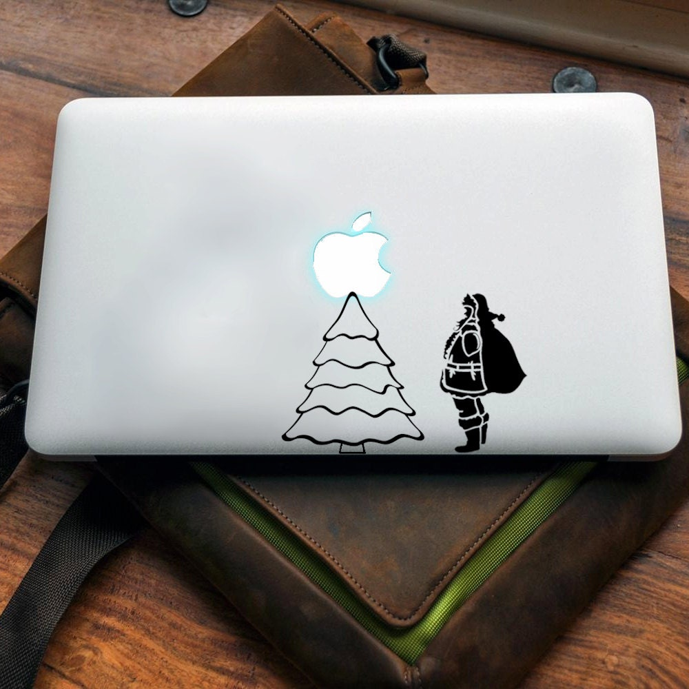 Tree and Santa Vinyl decal for MAC or PC sticker print perfect gift for any computer fan! Merry Christmas Gift Xmas Hat Apple (VS210)