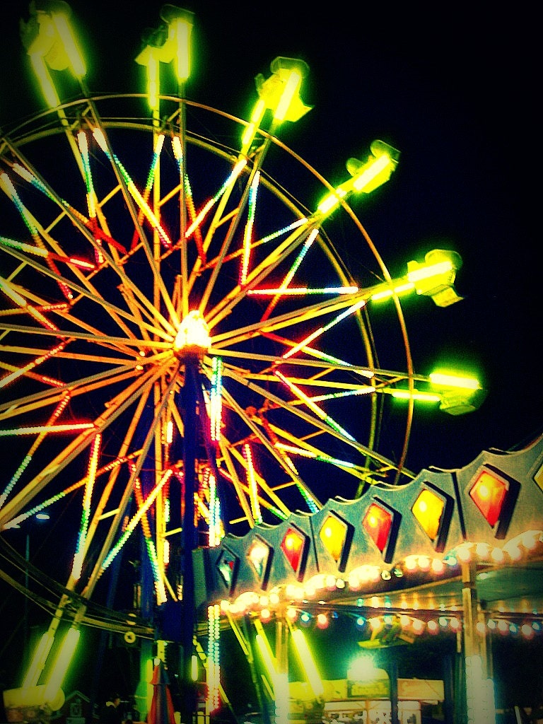 Midway Photograph - carnival fair ferris wheel night summer lights fun bright art print home decor - kristaglavich