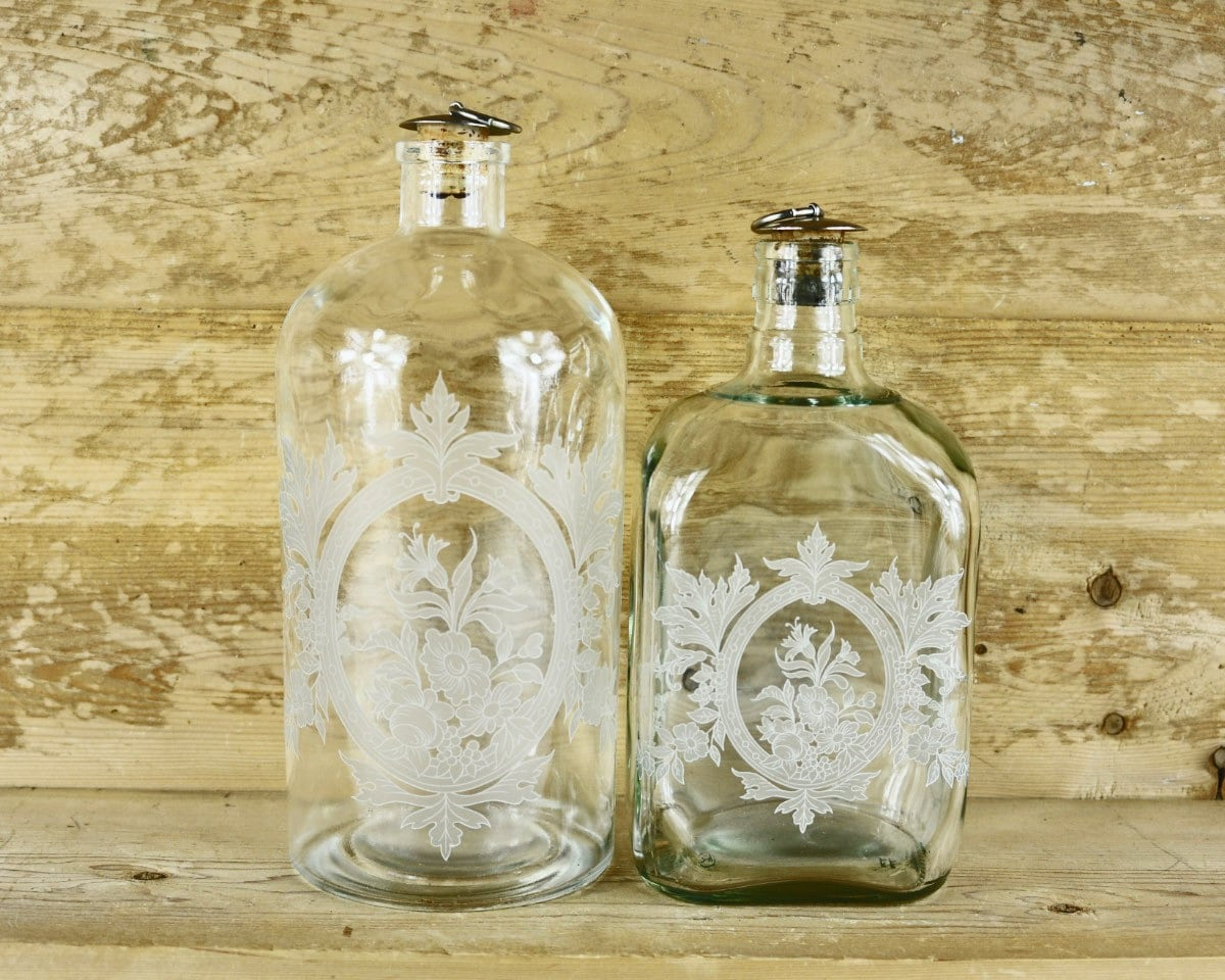 Antique Etched Glass Bottle With Cork Stopper By Havenvintage