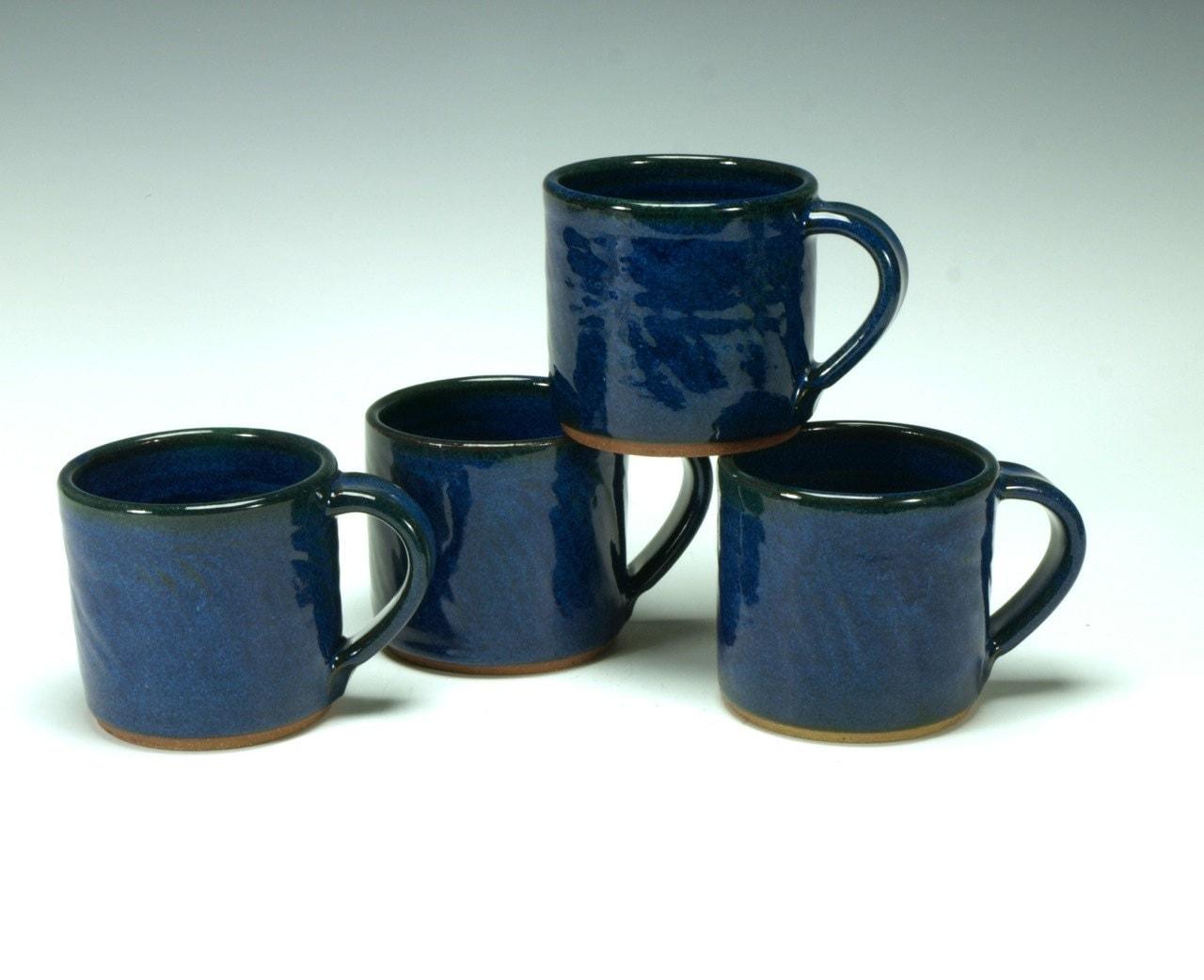 Cobalt blue stoneware mug set - TimcoArtPottery