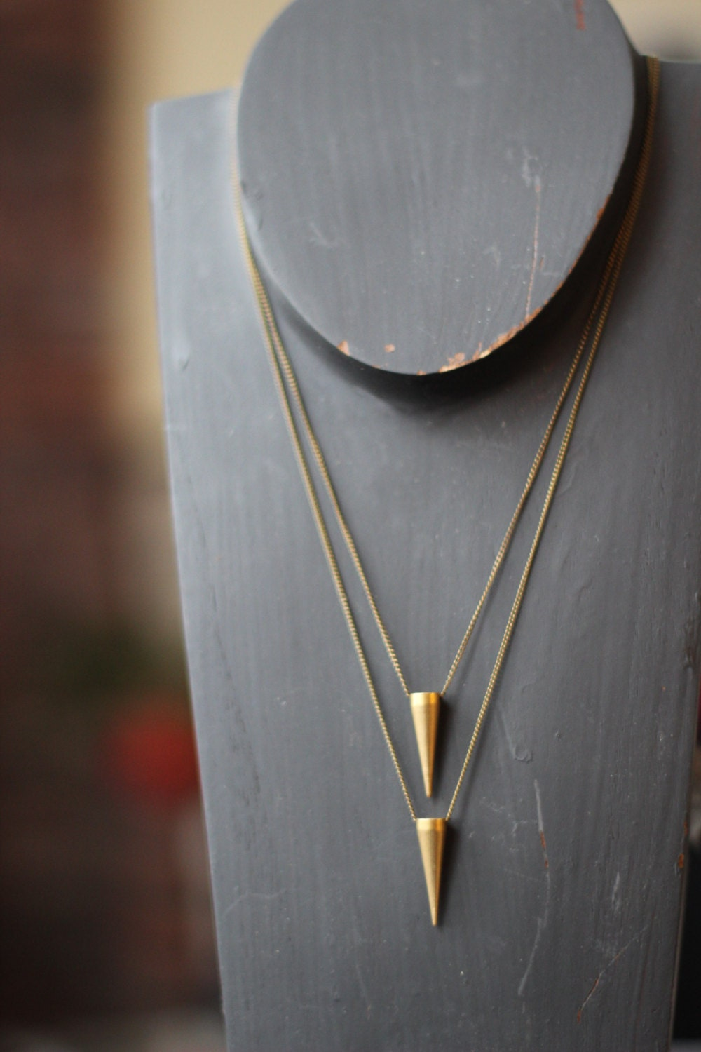 Pendulum Pendant Set - Solid Brass Spike - Tribal, Industrial  Necklace set - Raw Gold Matte Brass - Unisex - Gift Box - MySelvagedLife
