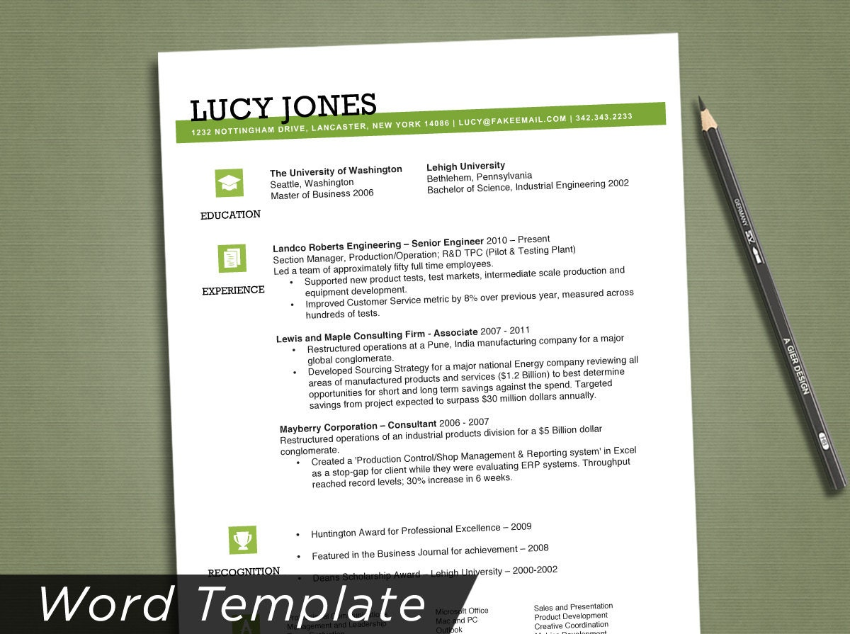 resume template resume design resume instant by agierdesign