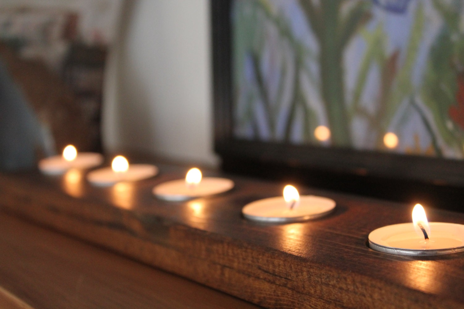 Tealight runner tea light reclaimed wood candle by