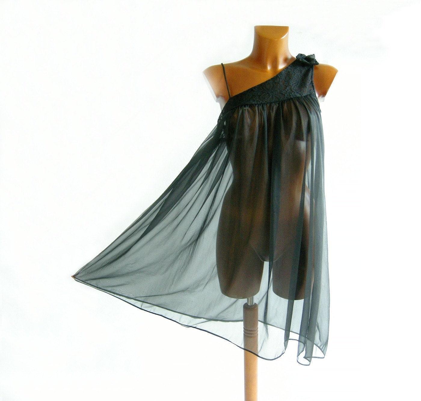 Vintage 60s Black Chiffon Babydoll Nightgown S M Negligee See Thru Asymmetrical - empressjade