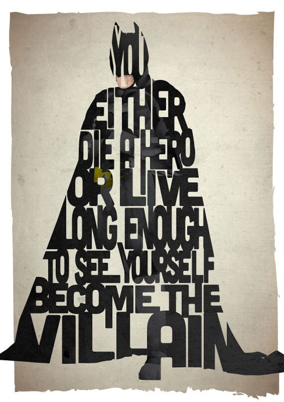 X-LARGE SIZE Batman typography print based on a quote from the movie The Dark Knight