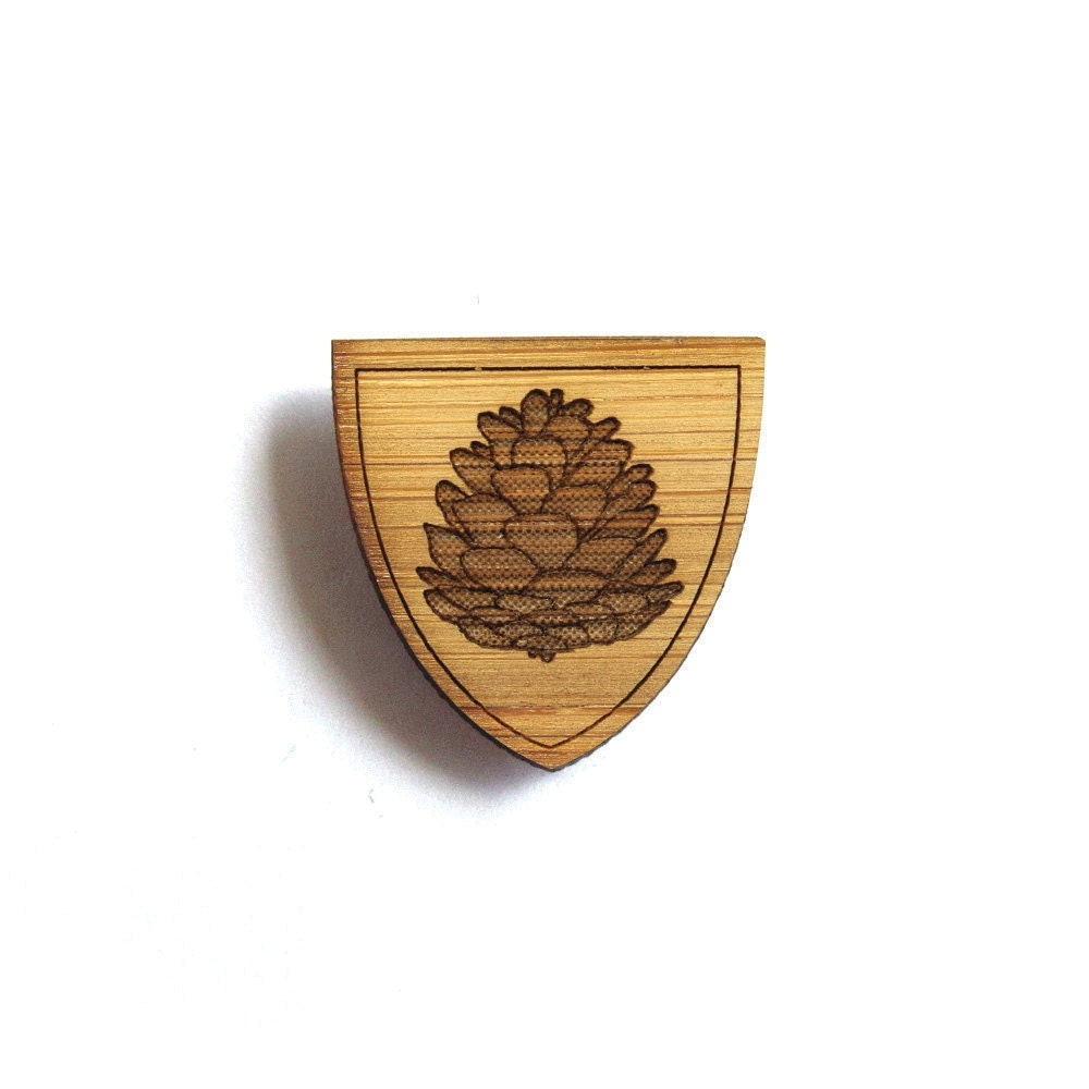 rustic pine cone brooch