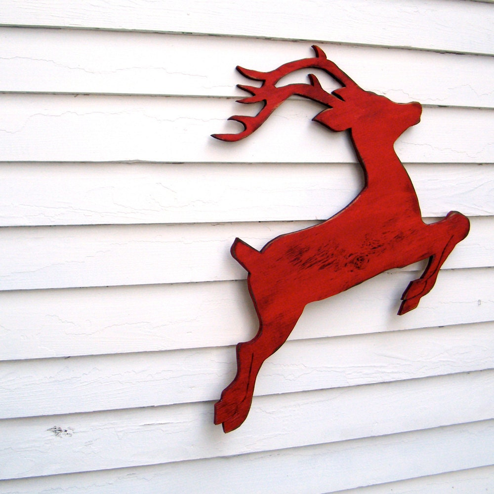 Items similar to reindeer christmas decor red wooden for Christmas reindeer decorations