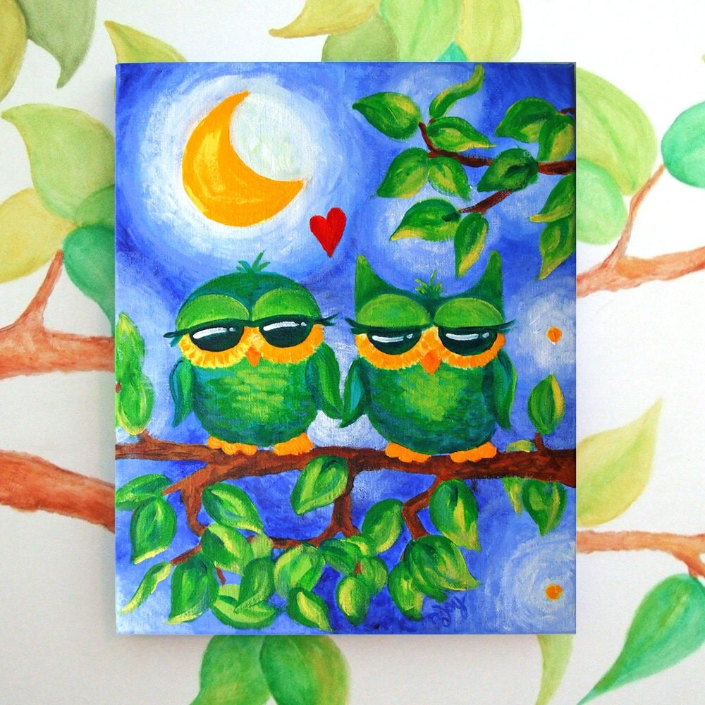 Whimsical Owl Painting, OWL ALWAYS love YOU, 11x14 acrylic, Romantic Art - nJoyArt