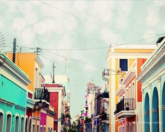 Old San Juan Colorful Buildings - Fine Art Photography, old san juan, san juan, puerto rico, colorful, cityscape, historical, fpoe - kimfearheiley