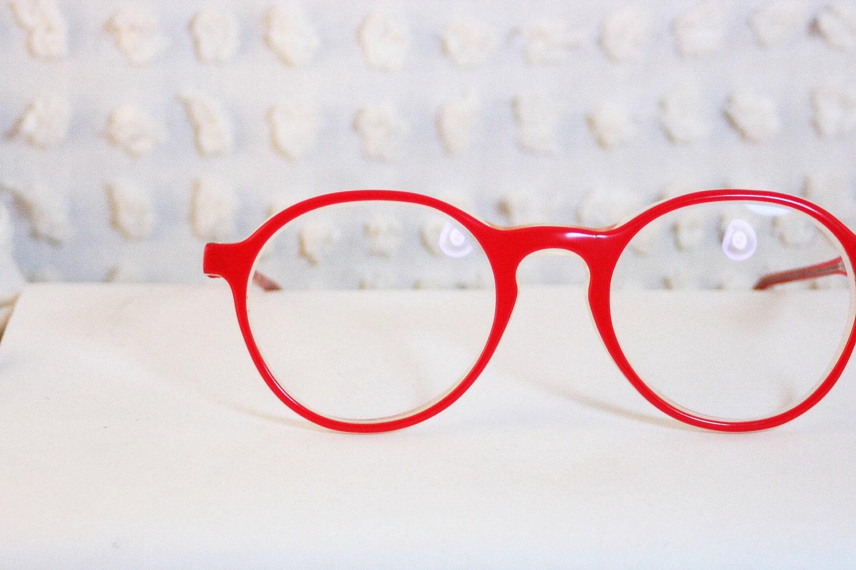 Log Lady Round Tomato Red 1970's Horn Rim Eyeglasses Thick Modern Circle Frame by Apollo Optik - THAYEReyewear