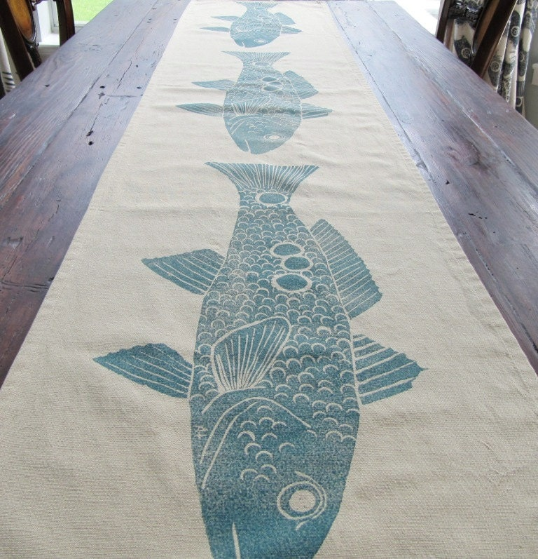 Fish Table Runner Redfish Color Navy Blue On By