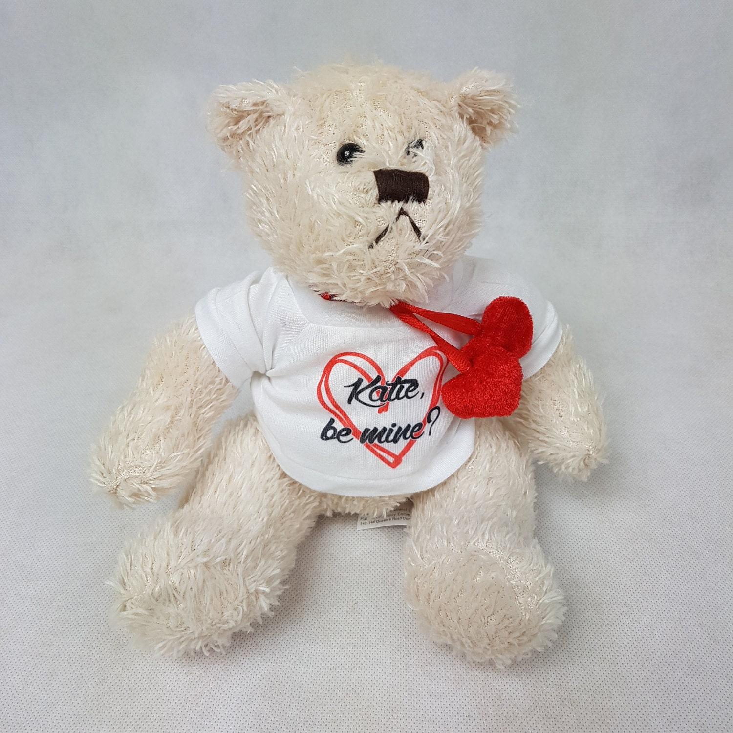 Valentines Personalised Bear  Be Mine  Girlfriend Teddy  Boyfriend Teddy  Valentines gift  Valentines present  Cream bear