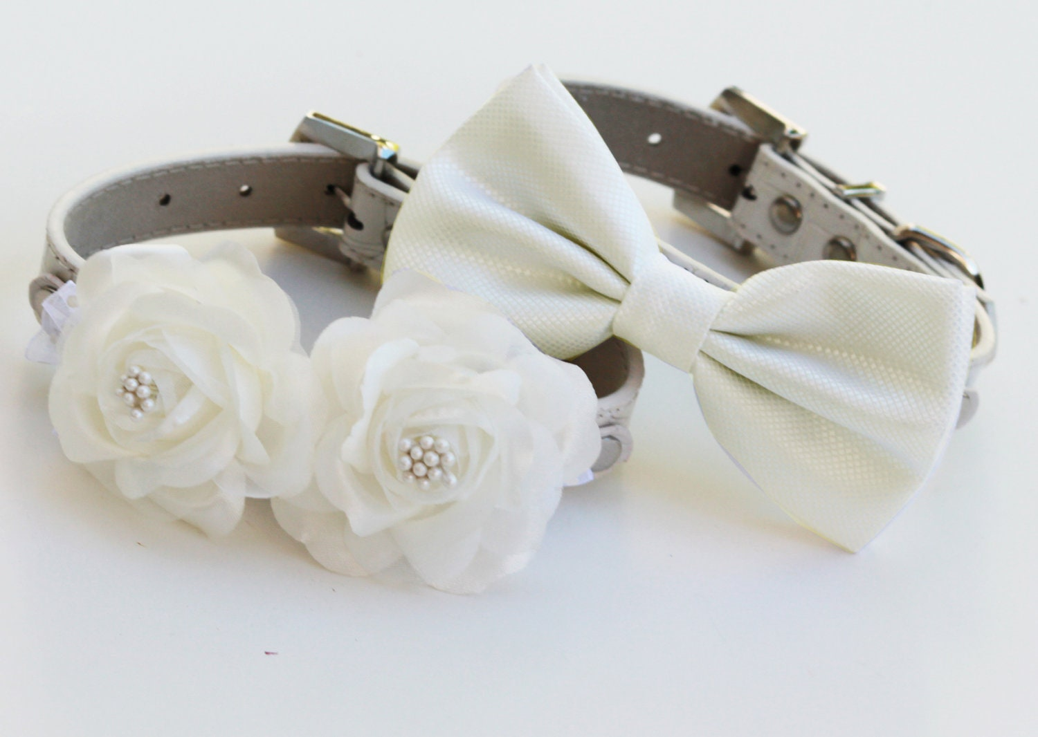 and white wedding dog collars two chic wedding dog collars white dog