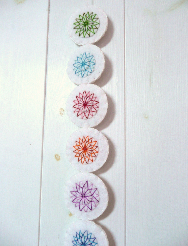 White embroidered felt wall hanging - HetBovenhuis