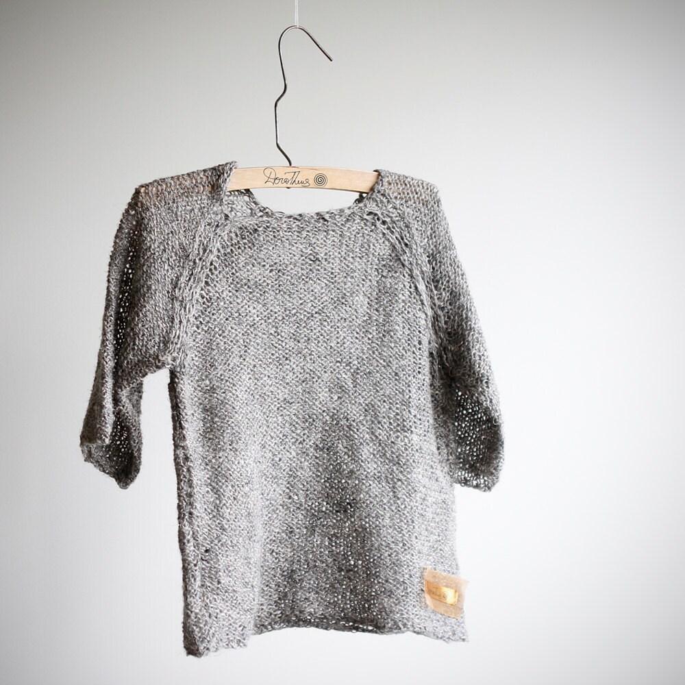 Kids line. Natural look grey 100% linen sweater unisex