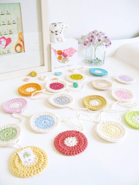 Polly : polka dot crochet garland, polka dot nursery decor in summer pastel colors & neon brights - ready to ship - emmalamb