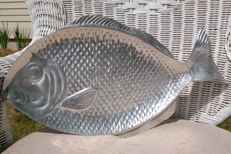 Polished aluminum fish platter serving by cobblestonesvintage for Fish serving platter