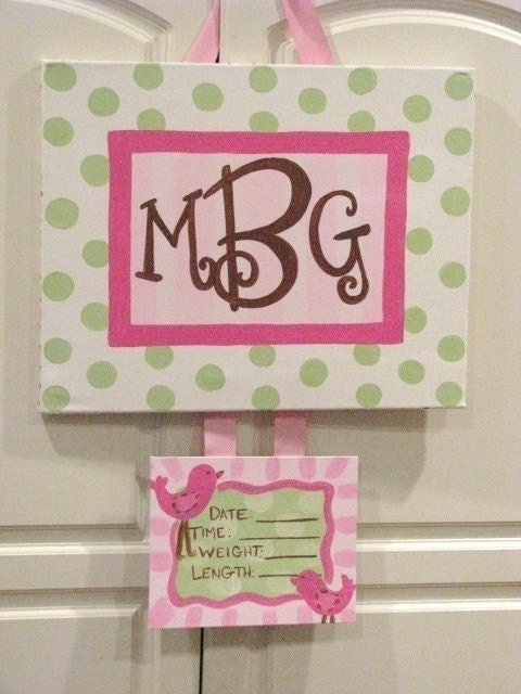 Custom birth announcement baby girl hospital by oohweedesigns for Baby hospital door decoration