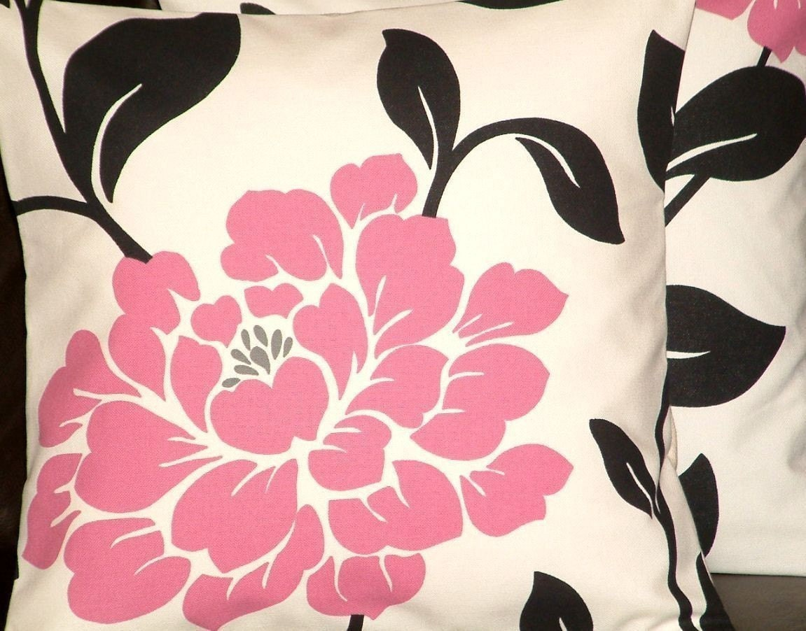 2 16 Contemporary Chic Black Pink Flower by MARIESCOSYCUSHIONS