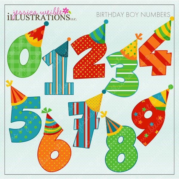 Birthday Boy Numbers Cute Digital Clipart for Card Design ...
