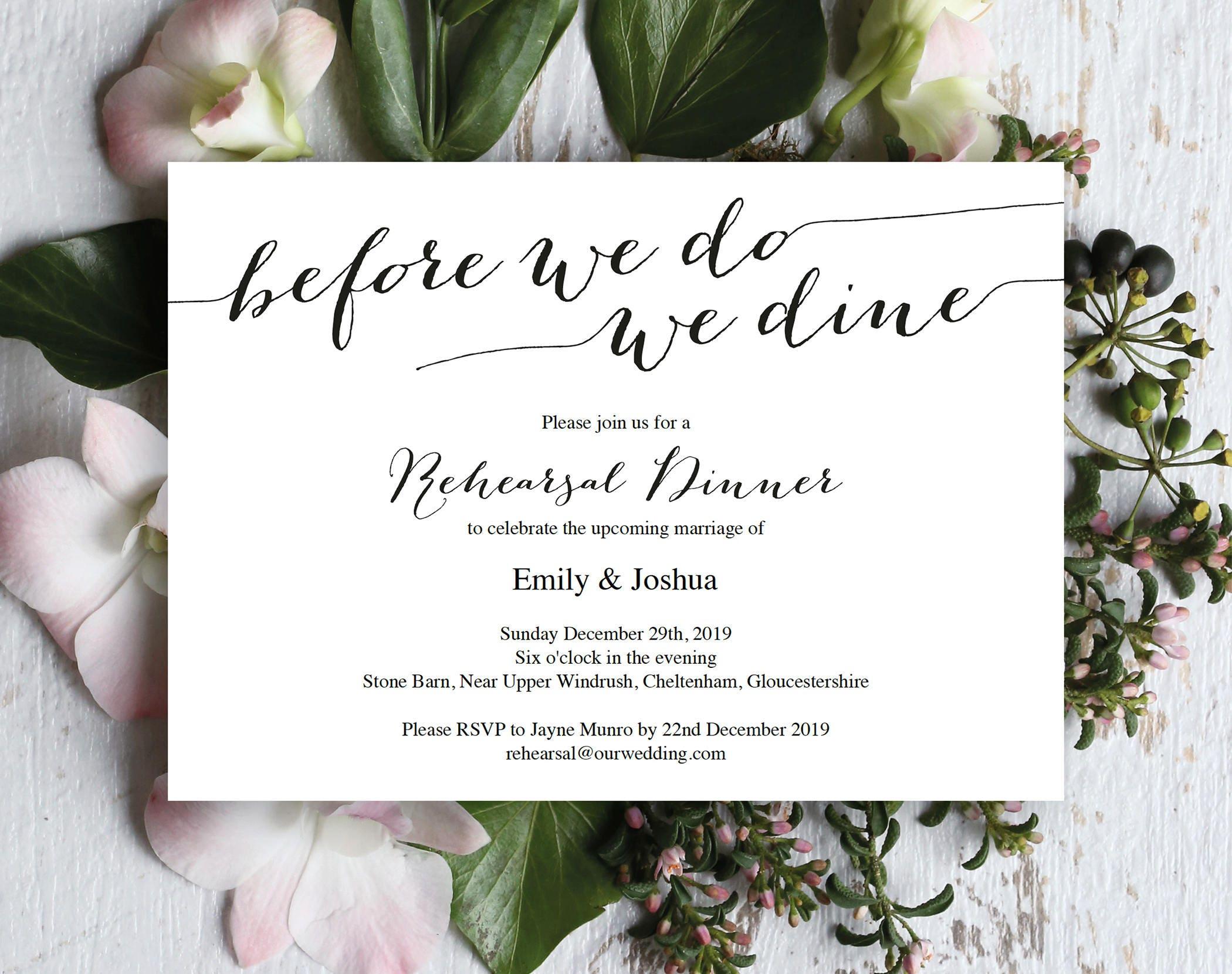 Rehearsal Dinner Invitation Template Wedding Rehearsal Rehearsal Invitation Printable Template Editable Invitation Elegant Invite