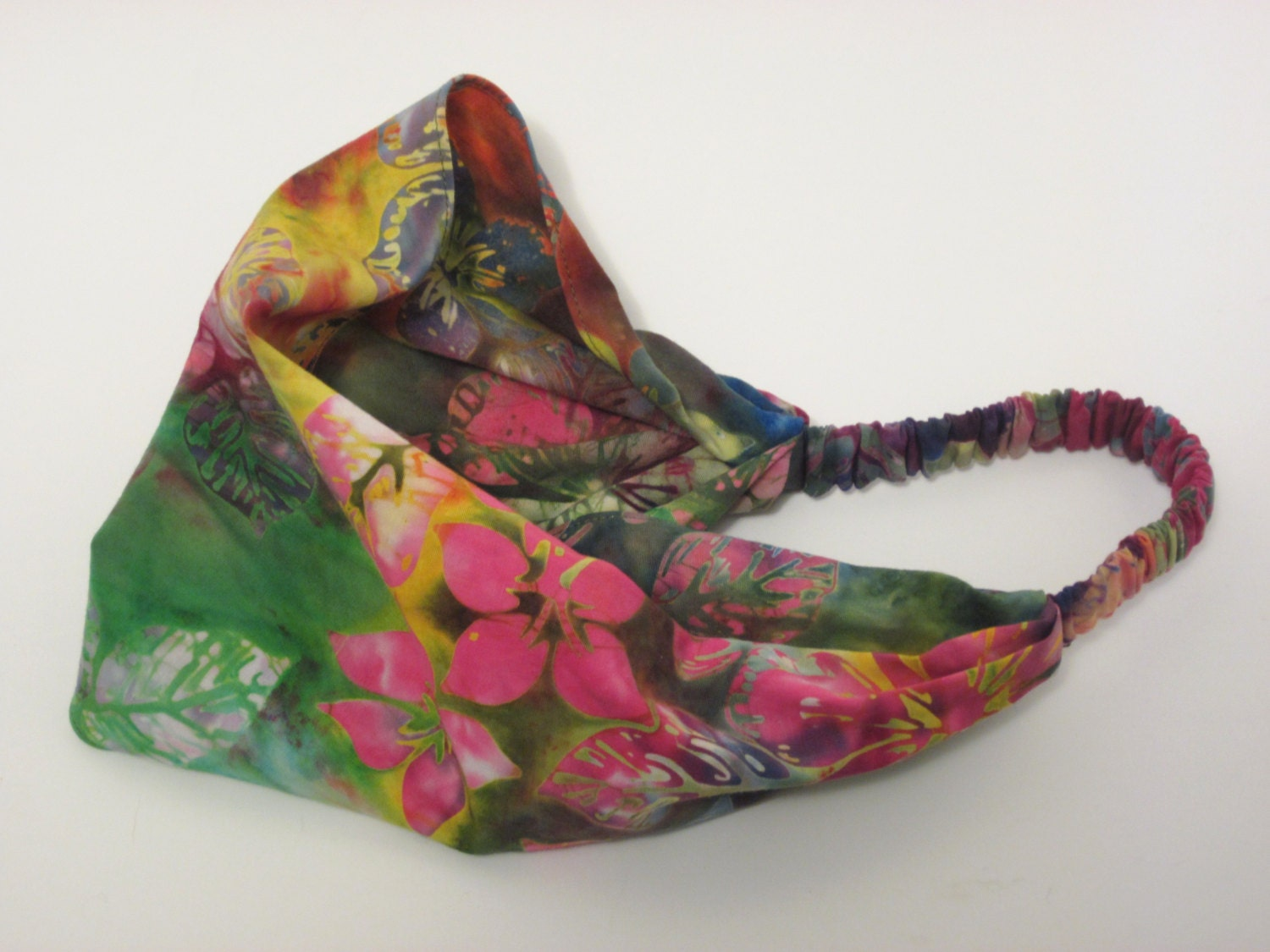 Tropical Flower Batik Head band in Green, Blue, Purple Pink, Orange and Yellow Cotton Batik Handmade by Thimbledoodle
