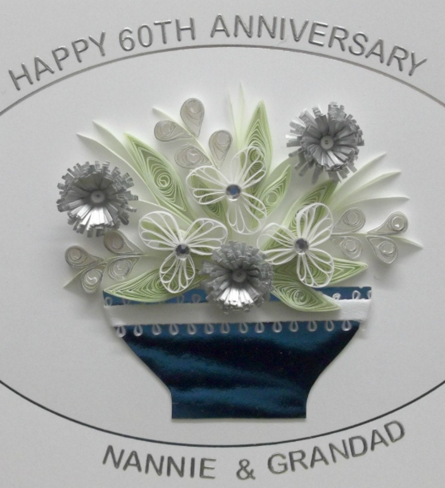 Wedding 60th Anniversary Congratulations Card Paper Quilling Flowers