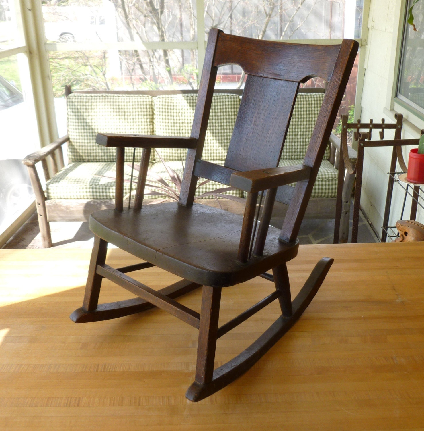 Antique arts crafts oak wood children 39 s rocking by joeblake for Small wooden rocking chair for crafts
