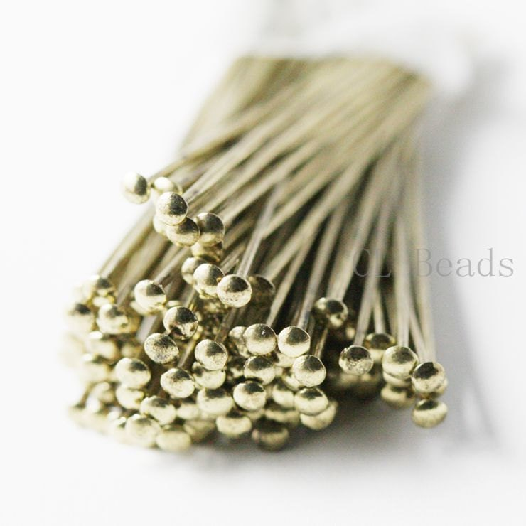 100pcs Antique Brass Umbrella Head Pins-50mm (2 Inch)-21 Gauge (365C-S-113) - clbeads