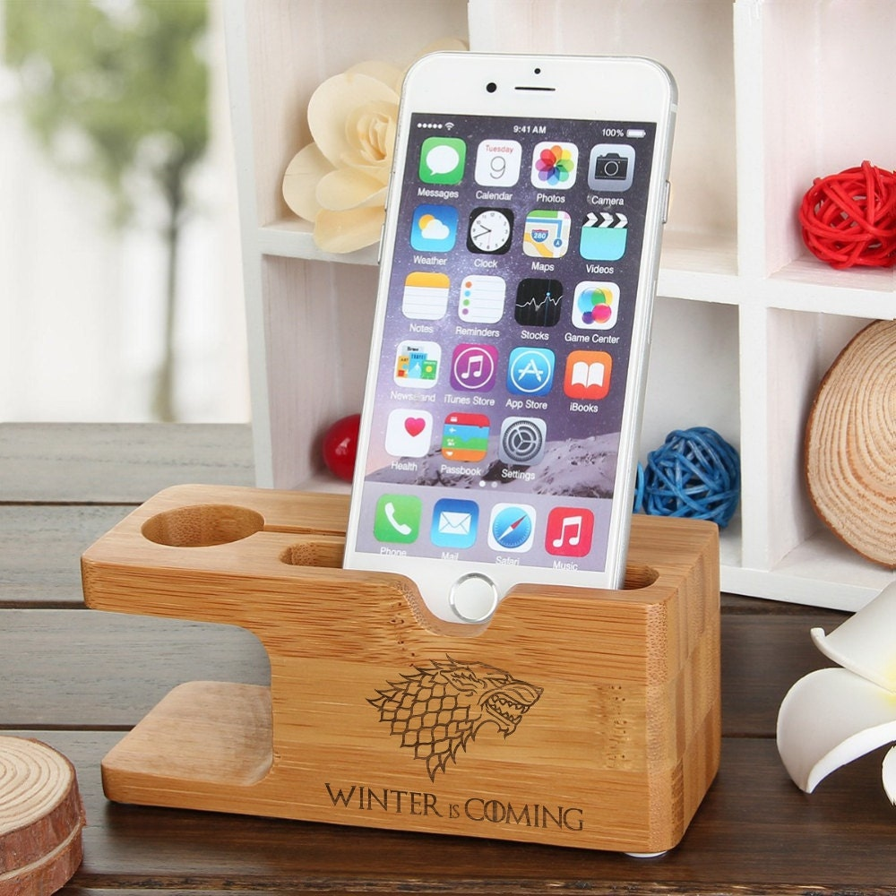 iPhone Dock Apple Watch Natural Wood Docking Station Game of Thrones Winter is Coming Stark Samsung Galaxy S7 Phone Gear Holder Personalize