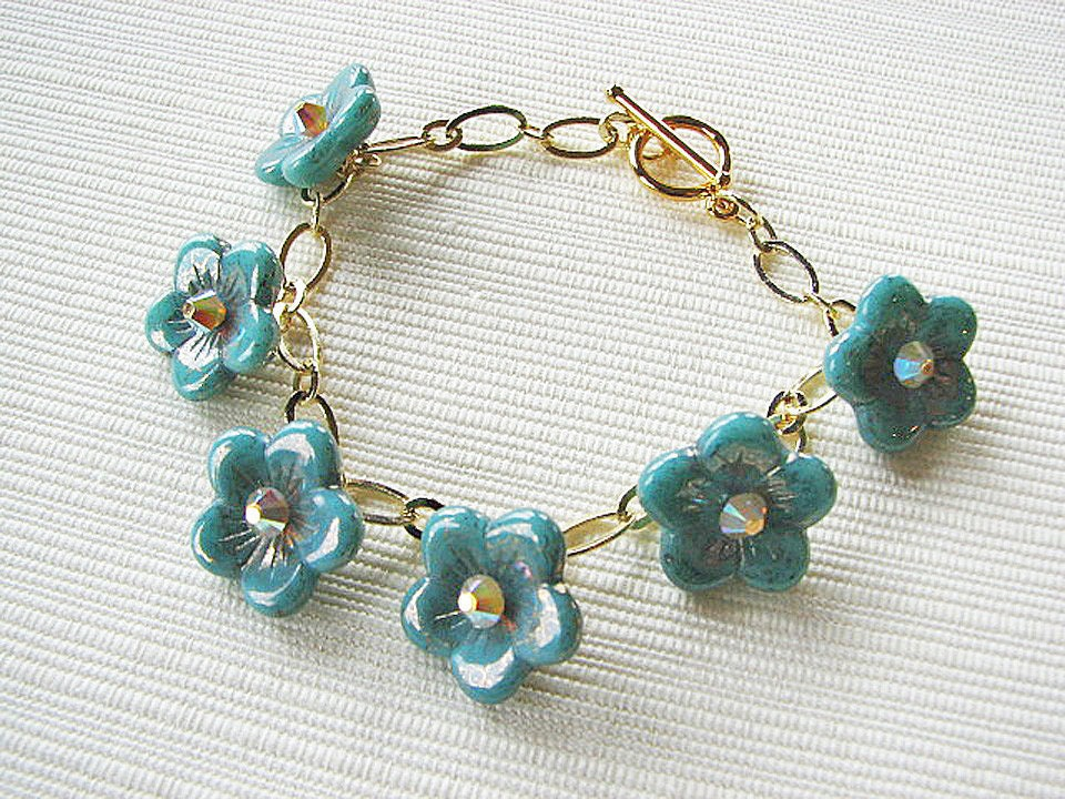 Turquoise Floral Bracelet with Swarovski Accents