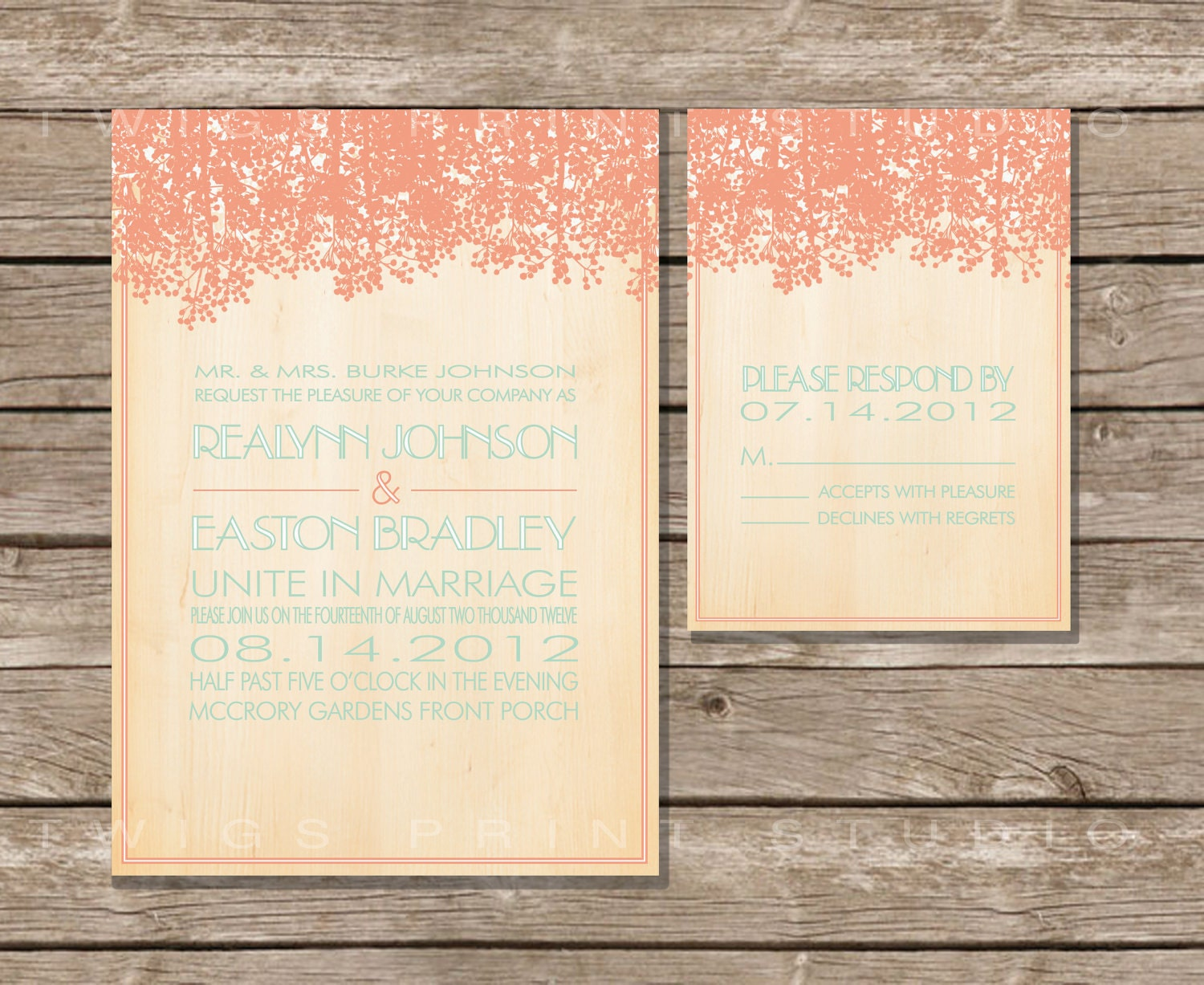 Wedding Invitation Rustic Southern Invite