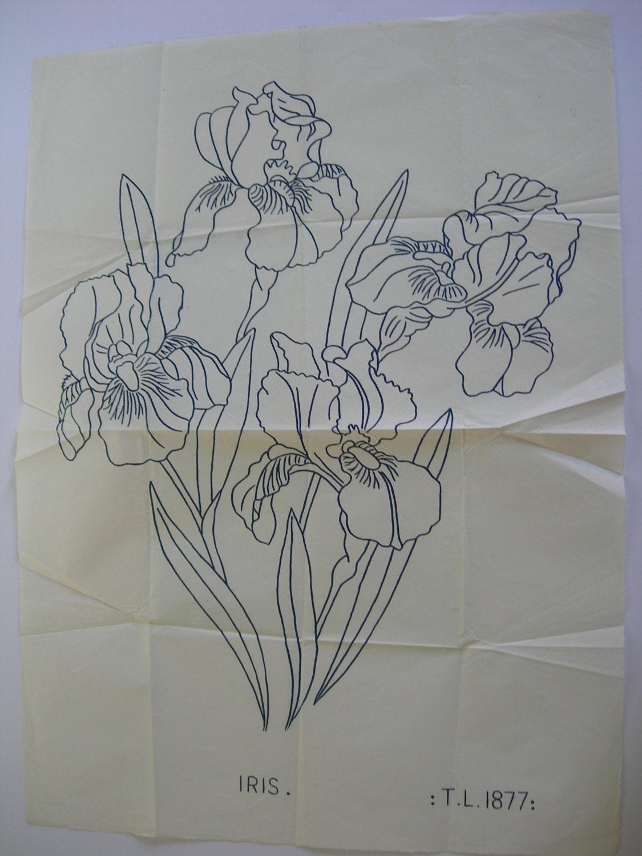 Vintage iron on embroidery transfer iris by joelleharris
