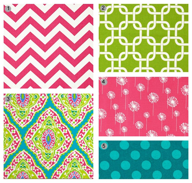 To custom baby bedding hot pink teal and lime green on etsy