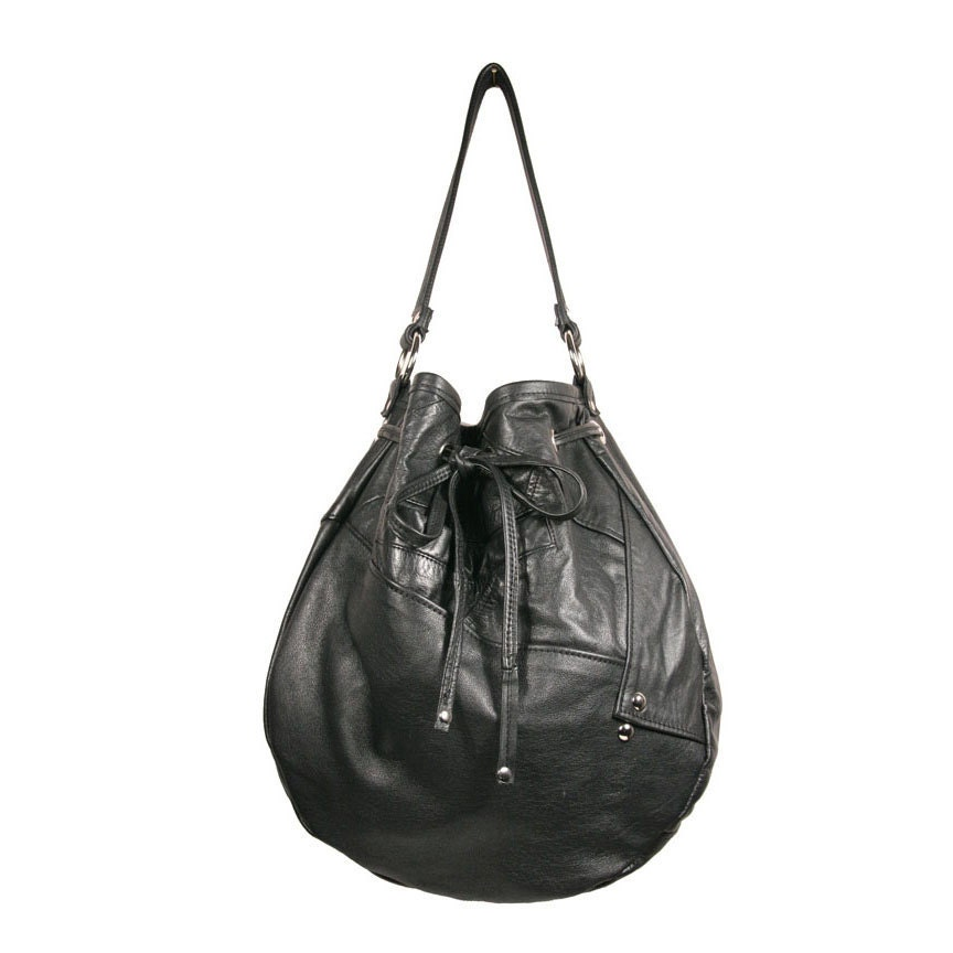 SALE- Olivia Shoulder Bag made of Recycled Black Leather