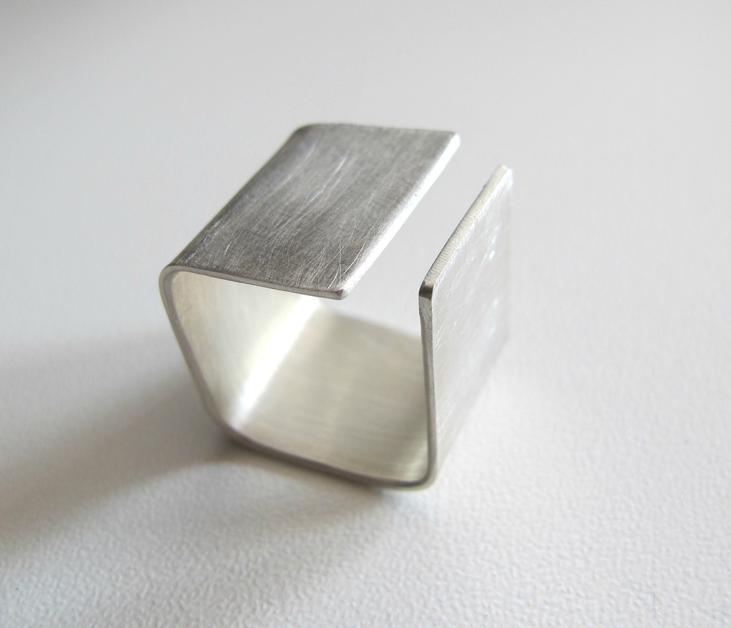 Silver Square band ring made to order modern simple by ZizouArT
