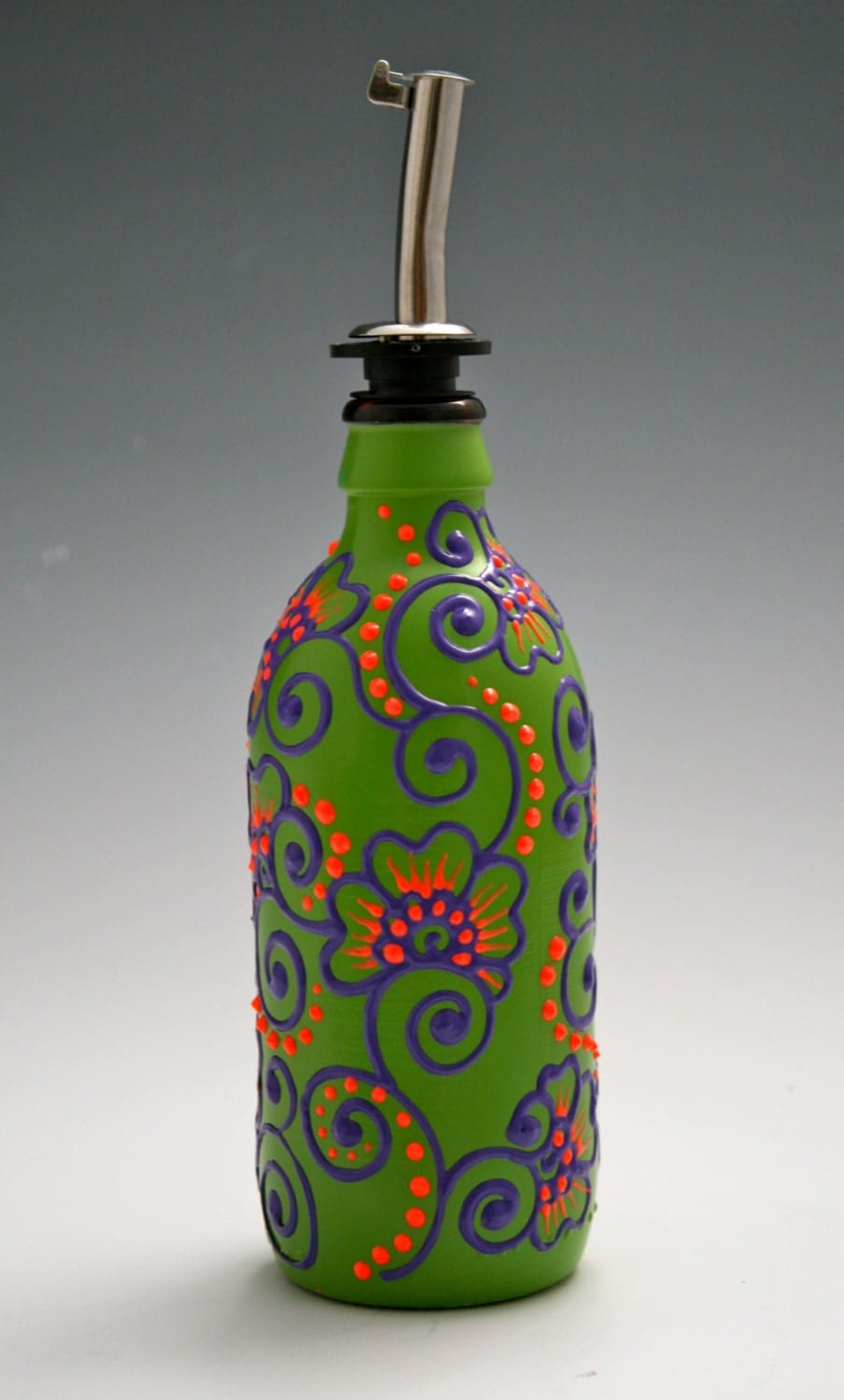 Hand Painted Glass Olive Oil Bottles