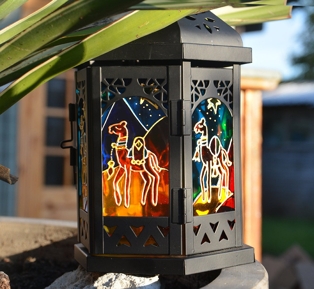 Christmas Camels Candle Lantern  Holiday Window Decoration  Christmas Mantle Ornament  Camel Lover Christmas Gift  Garden Sun Catcher