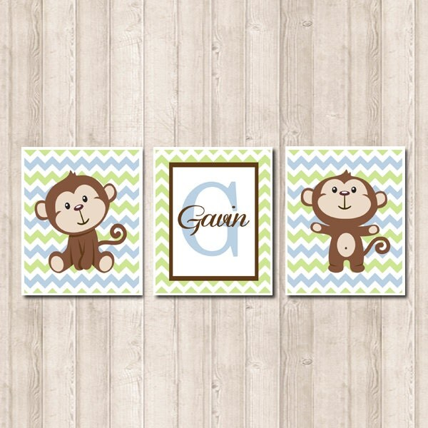 Etsy Personalized Wall Decor : Boy monkey nursery wall art personalized name by