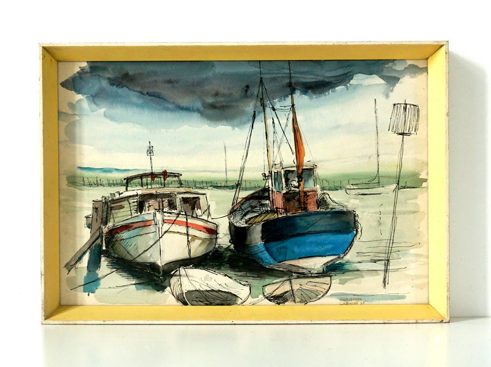 Mid Century Art  Moored Boats and Seascape  Signed  Dated  Original Watercolour Painting  Pen and Ink Drawing  Vintage 1950s