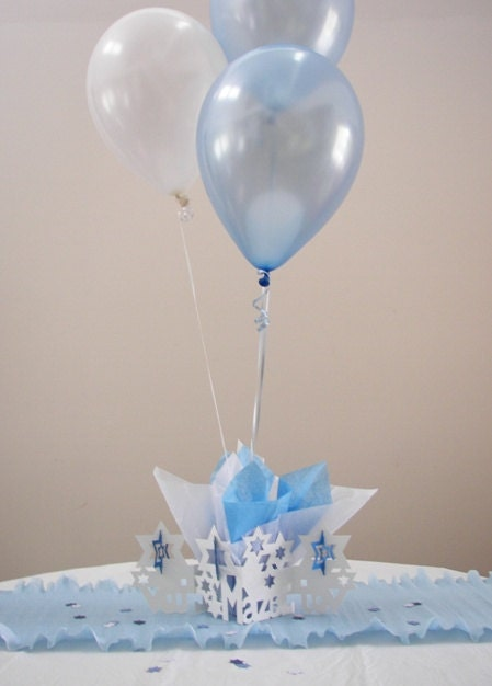 Mazel tov balloon centerpieces bris ceremony by settocelebrate for Balloon decoration centerpieces