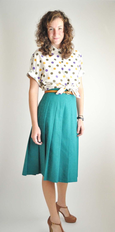Teal Pleated Vintage Skirt - OliveGreenAnna